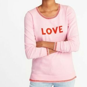 Old Navy Love Graphic Sweater Pink Size Large.